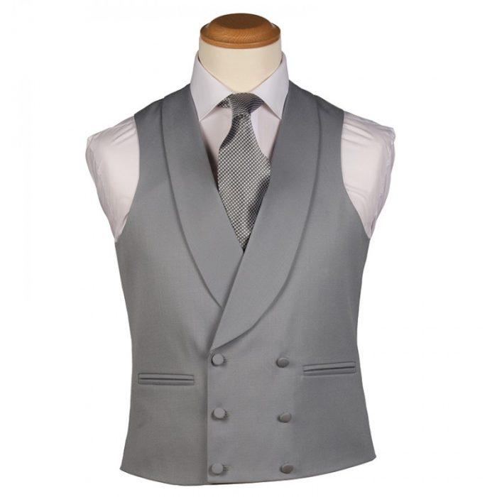 Plain Dove Grey Double Breasted Waistcoat
