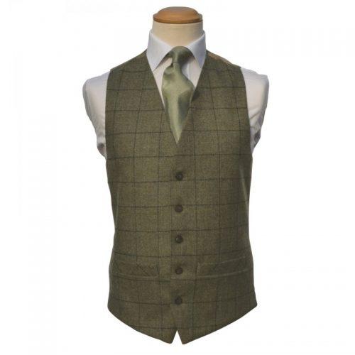 Tweed Olive Green Waistcoat
